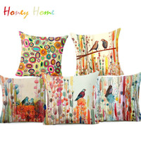 Wholesale Plant Dye - Bird Oil Painting Polyester Cushion Cover Plant Flower 43X43cm Pillow Case Home Decorative Pillows Cover For Sofa Car