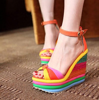 Wholesale Candy Colored Heels - 2016 new summer sweet candy colored metal foam bottom slope with thick color rainbow muffin bottom sandals