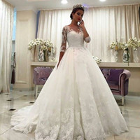 Wholesale Elegant Ball Ivory Wedding Gowns - 2017 Elegant Lace Wedding Gowns Applique Bateau Illusion 3 4 Sleeves Bridal Gowns Ball Gown Sweep Train Lace Up Wedding Dresses