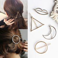 Wholesale copper hair clips - Vintage Gold  Silver Circle Lip Moon Triangle Hair Pin Clip Girls' Hair Clips Metal Hair Accessories