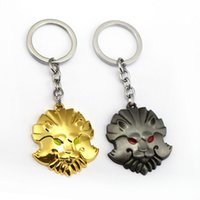 Wholesale Lion Medallion - Dota 2 Keychain Lion Head Medallion Of Courage Key Ring Holder Metal Fashion Car Bag Chaveiro Key Chain Pendant Game Jewelry