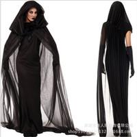 ingrosso costume fantasma nero-All'ingrosso-Plus size Ghost bride black dress Adulto Broomstick sexy Witch Costume Halloween Cosplay per le donne Club wear costumi di partito