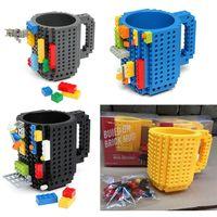 Wholesale Clear Coffee Cups - Creartive Gifts Build-On Brick Mug Lego Type Building Blocks Coffee Cup DIY Block Puzzle Mug 12oz Christmas Mugs