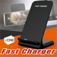 Wholesale Iphone Charging Eu - 2 Coils Fast Wireless Charger Qi Wireless Charging Stand Pad for Apple iPhone X 8 8Plus Samsung Note 8 S8 S7 all Qi-enabled Smartphones