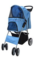 Wholesale Small Carts - 4 Four Wheel Pet Stroller   Cat & Dog Foldable Carrier Strolling Cart