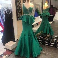 Wholesale Mermaid Prom Dress Floor Length - Hunter Green 2018 Prom Dresses Beading Peplum Crystal One Shoulder Mermaid Floor Length Satin Pageant Ball Gowns
