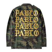 Wholesale Mens Cool Winter Jackets - Kanye West Season 3 PABLO Camo Jacket Mens Cool Military Coaches Jackets Single Breasted Trench Coat Winter Long Outwear YBF0936