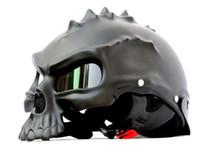 Wholesale black yellow half helmets resale online - 100 Masei Brand Skull Motorcycle Helmet Half Face Helmet Motorbike Capacetes Racing Bike Casco Retro Casque