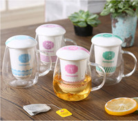 Wholesale Tea Cup Kettle Wholesale - 2017 Creative Water Bottle glass cup 600ml Transparent small Tea separation water cup Thick ceramic lid Heat resistant coffee mugs wholesale