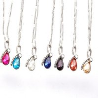 Wholesale Tear Crystal Water Drop Necklace - New popular water drops gem necklace short paragraph angel tears girl gift crystal jewelry YP055 Arts and Crafts pendant with chain