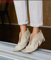 2017 Point Toe Booties Gland bottes style occidental Femme Chaussures Hiver cheville frange Bottes appartements talon slip sur mujer Bota