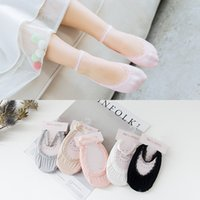 Wholesale Toddler Girl Color Socks - Baby Girls Princess Boat Socks Spring Summer New Korean Cotton Sweet Lace Kids Children Invisible Dance Toddler short socks Solid Color