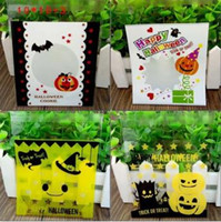 Wholesale Wholesale Self Adhesive Paper Bags - Halloween Christmas Theme Cookie Packaging Colorful Bottles Self Adhesive Plastic Bags For Biscuits Snack Baking Bag 95pcs lot CCA7148 70lot