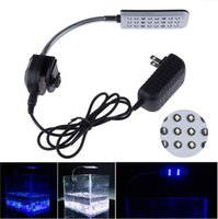 Wholesale Blue Led Light Bulb Aquarium - 12V 24 LED Aquarium light Fish Tank Water Plant Tropical Fish 3 Mode Clip White Blue Light Bulb Lamp With CE ROHS Aprroval