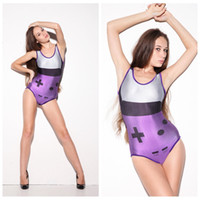 Wholesale Sexy Fashion Beachwear - Women One Pirce Swimsuit Fashion Sexy Swim Wear Tight Slim Beach Sets High Elastic 3D Print Beachwear Sweet Purple Geometric Game LNSst