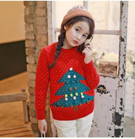 Wholesale Chritmas Tree - Mother and Girls Knitting Sweater Girls Stereo Pompons Chritmas Tree Pullover Women Jacquard Thickening Sweater Family Clothes C1369