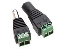 conector hembra fuente de alimentación dc al por mayor-DC 12V 5.5 * 2.1 Enchufe Macho Adaptador Hembra Conector Macho Para 5050 3528 LED Luz de Tira fuente de alimentación