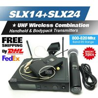 Wholesale Dual Frequency - Dual Wireless Microphone System SLX24 SLX14 BETA58 uhf Channels Frequencies Cordless Microphones Bodypack Handheld Transmitte 3Pcs Microfoon