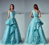 Wholesale Turquoise Coral Red Flowers - Saiid Kobeisy 3D Lace Floral Evening Formal Dresses 2017 Modest Turquoise Peplum Ruffles Skirt Dubai Arabic Occasion Prom Dress Gown