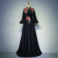 Wholesale Quinceanera Mothers Dress - Really Photo Black Taffeta High Neck Three Quarter Trumpet Sleeve Embroidery Zipper Floor Length Ball Gown Mother of the Bride Dresses