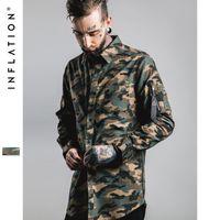 Wholesale Denim Shirt Mens - INFLATION New Man Denim Shirts Mens Hip Hop Military Style Mens Shirts Long Sleeve Hiphop Streetwear Swag Zipped Mens Shirts