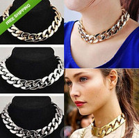 Wholesale Women Thick Gold Chain - Fashion Big Thick Chain CPP Chokers Necklaces Big Chain Gold Silver Black Women Fashion Jewelry Gifts For Her