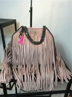 Wholesale Factory Material Bag - droppshipping factory price size:37 x36 x8cm pvc materials 3 chains tassels women tote bags fala fold-over tote shaggy deer shoulder bag
