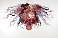 Wholesale Glass Blown Pendants - AC 110V 220V CE UL LED Light Source European Type Italian Dale Chihuly Style Clear Blown Glass Chandelier