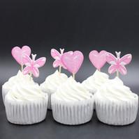 favores mariposas rosadas al por mayor-Al por mayor-Pink Heart and Butterfly Party cupcake toppers recoge decoración para el banquete de boda favorece los suministros de decoración
