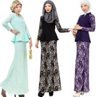 Wholesale Western Style Ladies Dresses - New Style Long Sleeve Muslim Evening Dress Lace Clothing Puplem Dress Western Ladies One Piece Muslim Islamic Ethnic Clothing