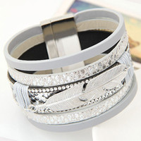 Wholesale Magnetic Gifts For Men - Wholesale-2016 Fashion Alloy Feather Leaves Wide Magnetic Leather Bracelets & Bangles Multilayer Wrap Bracelets Jewelry for Women Men Gift