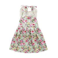 Wholesale England Braces - 2016 Baby girl floral print dress with lace Kids girl summer braces skirt girl sleeveless Pleated cloth size80-120