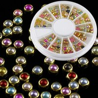 Wholesale Pearl Nail Stickers - Wholesale- New Fashion Nail Pearl Studs Stickers Colorized Nail Art Glitter Rhinestone Decoration Tool NA0070