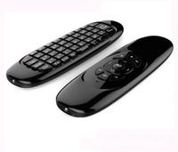mini controlador para android al por mayor-Giroscopio Fly Air Mouse C120 Teclado inalámbrico para juegos Controlador remoto Android Teclado recargable para Smart TV Mini PC