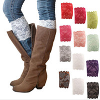 Wholesale lace boot toppers - Lace Boot Cuffs Flower Leg Warmers Lace Trim Women Stretch Soft Toppers Socks Wedding Bride Foot Cover Socks OOA3085