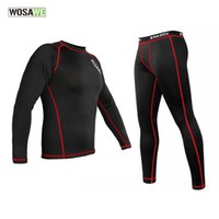 Wholesale Mens Cycling Tights Long - WOSAWE Mens Thermal Fleece Quick-dry Base Layer Under Wear Cycling Bike Long Sleeve Jersey Tight Winter Sports clothing