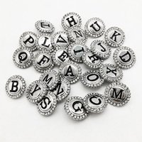 Wholesale Coined 18k Gold Plated Jewelry - Zm8009 Alphabet Metal Snap Button For Bracelet 26pcs lot DIY Jewelry making Fit for necklace bracelet ring
