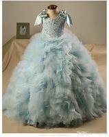 Wholesale Princess Pompon Dress - 2016 Princess Girls Pageant Dresses Handmade Flowers Pompon flower girl dress For wedding Vintage Floor Length Kids Formal Wear Custom Dress