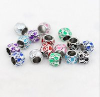 0 black bear oil - x10x10x6mm antique silver plated oil drip bear paw alloy mix color big hole beads fit European bracelet DIY Gifts