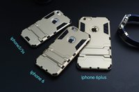 Wholesale Iphon5 Cases - Hight qulity Iron Man Armor phone Cases 2 in 1 Support Mobile Phone protection shell For iphon5 5S 6 6PLUS 6S 6S plus with stand