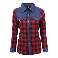 remiendo del dril de algodón camisetas al por mayor-Ropa de mujer Camisa de otoño Solapa Rayas Patchwork Denim Blusa a cuadros de un solo pecho