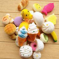 kawaii dondurma toptan satış-Gag Oyuncak 20Pcs Telefonu sapanlar Çocuklar Sevimli Mini Kawaii Kawaii Squishy Jumbo Panda Bun Yavaş Squishy Sevimli Yumuşak Mini Ekmek / Kek / Ice Cream Rising