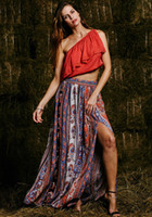 Wholesale Ankle Length Work Dresses - Womens Summer Style Bohemian Boho Floral Print Sexy Open Side Split Beach Party Work Clubwear Fitted Long Skirt
