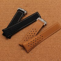 Wholesale Polish Fashion Sale - New hot sale Brand Soft Scrub leather smooth watchband with polished folding buckle 22mm 24mm watch accessories bands Free shipping