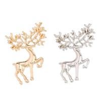 bijoux sika achat en gros de-Classique À La Mode Elk Broche En Métal Sika Cerf Boucle Broches Pour Femmes Bijoux Accessoires De Noël De Noël Cadeaux En Gros 12 Pcs