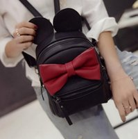 Wholesale Korean Fashion Yellow Satchel Bag - 2016Autumn Winter new Female bag Quality pu leather Women bag Korean version of Mickey ears Sweet bow College Wind Mini backpack