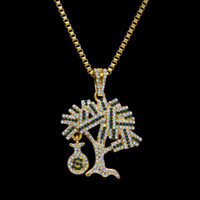 Wholesale Money Bag Pendants - New Brand Mens Hip-hop Dollars Tree Pendant Necklace High Grade Alloy Full Rhinestone Money Bags Pendant Hip hop Necklace Rap Punk Jewelry