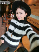 Atacado- New Fleece Women Mink Cashmere Pullovers Sweaters Preto e branco Striped Turtleneck Coat Best Sell Free Shipping JN268