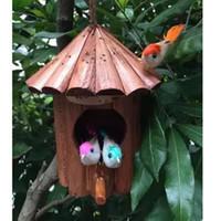 kuş evleri toptan satış-Toptan Satış - Toptan-15 * 18cm ahşap koruyucu açık kuşlar yuva süslenmiş ahşap koruyucuları Bird House Ahşap kuş yuva kafesleri bahçe dekoru