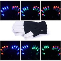 Wholesale LED Gloves Flashing Finger Lighting Gloves with Modes for Clubbing Rave Party favor music concert Christmas Festival and show attractive